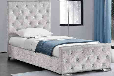 Groupon Goods Global GmbH - Beaumont Crushed Velvet Bed Frame with Optional 5 Inch Deep Spring Mattress With Free Delivery - Save 0%
