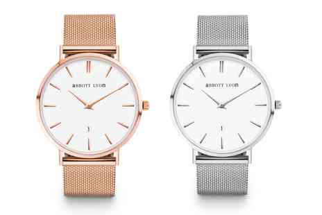 Groupon Goods Global GmbH - Abbott Lyon Unisex Silver or Rose Gold Plated Watch With Free Delivery - Save 41%