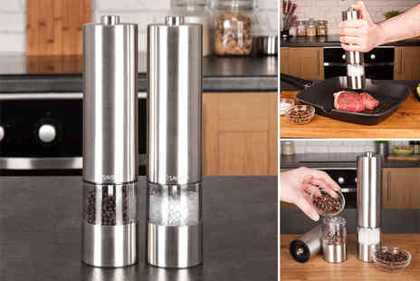 Savisto - Pair of electronic salt and pepper mills - Save 36%
