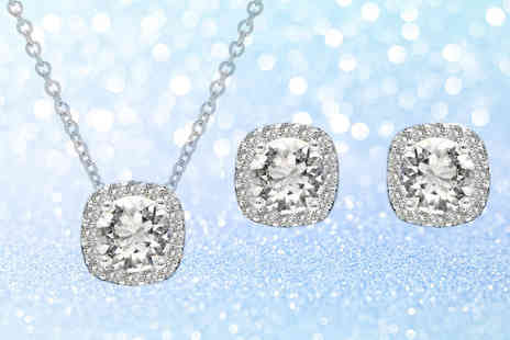 Lily Spencer London - Cushion cut halo necklace & earrings set - Save 71%