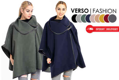 Verso Fashion - Oversized buckle collar cape coat choose from nine colours - Save 50%