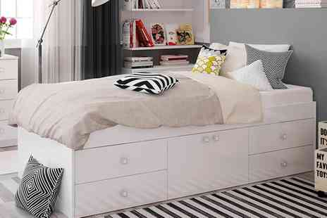 Groupon Goods Global GmbH - Low Cabin Single Bed with Storage and Optional Mattress With Free Delivery - Save 0%