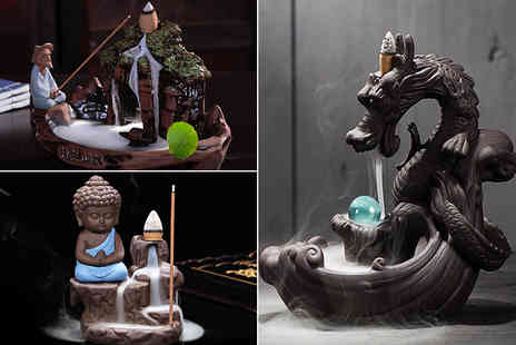 Charles Oscar - Little Monk incense burner & 100 incense cones or Old Man Waterfall burner or Dragon burner - Save 69%