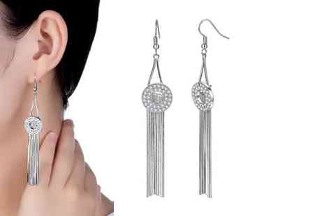 GameChanger Associates - Pair of drop earrings made with clear cubic zirconia crystals - Save 94%