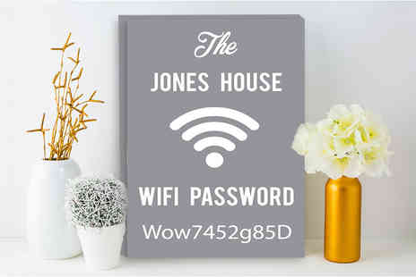 Deco Matters - Personalised wi fi password canvas choose from a3 or a4 sizes - Save 90%