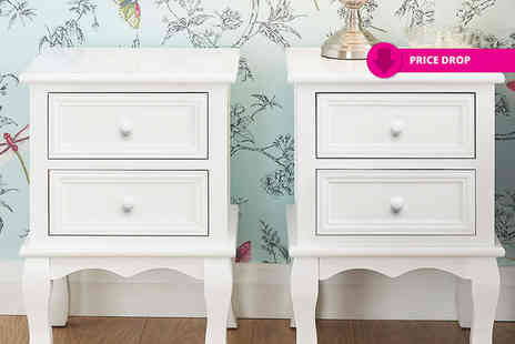 FTA Furnishing - Two white classic bedside tables - Save 56%