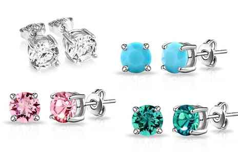 Groupon Goods Global GmbH - Philip Jones Birthstone Earrings with Crystals from Swarovski - Save 0%