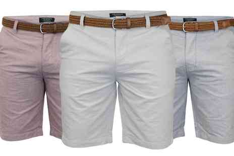 Groupon Goods Global GmbH - Mens Threadbare Cotton Chino Shorts with Belt in Choice of Colour - Save 0%