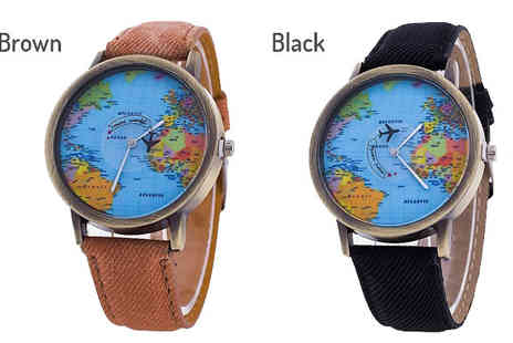 Richardson Group - World Map Quartz Watch Choose 7 Colours - Save 84%
