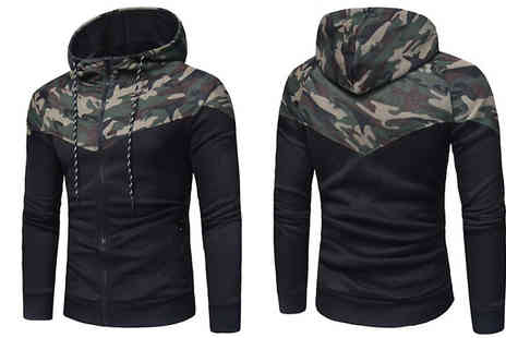 Blu Apparel - Mens Zip Up Camo Detail Hoodie Available 2 Colours - Save 57%