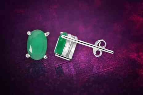 Evoked Design - Pair of emerald stud earrings - Save 83%