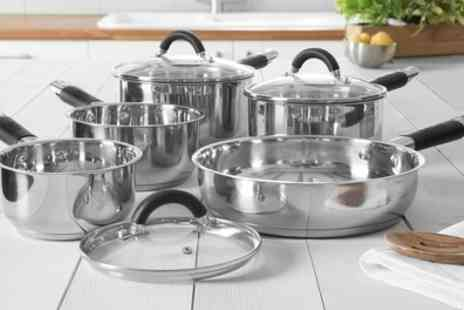Groupon Goods Global GmbH - Tower Five Piece Stainless Steel Pan Set - Save 71%