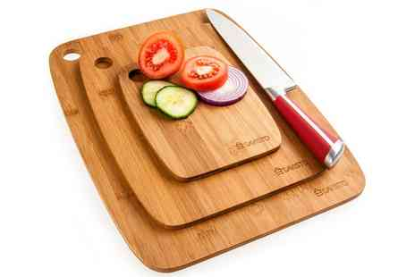 Groupon Goods Global GmbH - Savisto Three Piece Bamboo Chopping Board Set - Save 0%