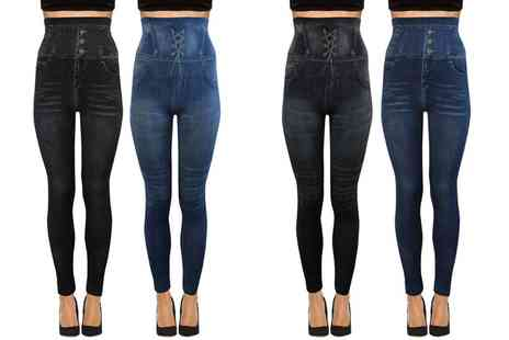 Groupon Goods Global GmbH - Two Pack of High Waisted Seamless Denim Print Leggings - Save 0%