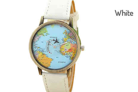 Trendy Banana - World Map Print Unisex Watch Choose Five Colours - Save 80%