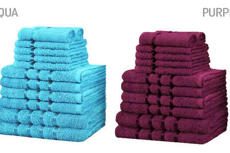 Fusion - 12 Piece Egyptian Cotton Bathroom Bale Towel Set Available in Ten Colours - Save 79%