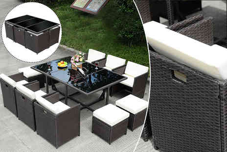 FDS Corporation - 11 piece rattan cube dining set - Save 62%