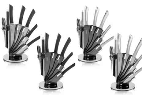 Groupon Goods Global GmbH - Tower Seven Piece Kitchen Knife Set in Choice of Design with Rotating Stand - Save 63%