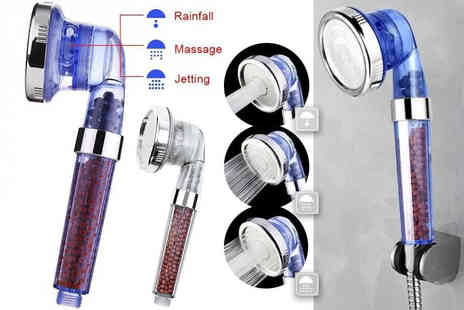 Buy Something - High pressure shower head with three functions choose from blue or white - Save 86%