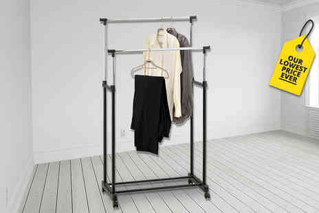 Who Needs Shops - Adjustable double clothes rail with shoe rack - Save 77%