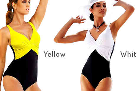 Graboom - Plus Size Contrast Detail Swimsuit Available in Six Colours, Six Sizes - Save 52%