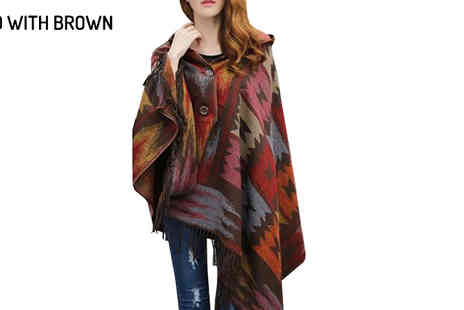 Graboom - Hooded Tribal Pattern Poncho Available in Six Colours - Save 48%