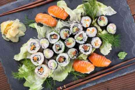 Hot Stone - Sushi and Sashimi Sharing Platter with Glass of Wine Each for Two - Save 48%