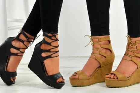Groupon Goods Global GmbH - Womens Lace Up Peep Toe Wedge Shoes - Save 0%