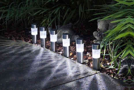 SHS Trading - Set of six solar powered Led stainless steel lights - Save 53%