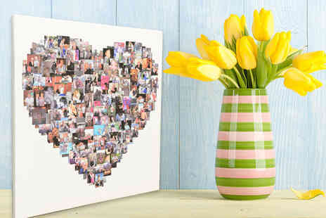 Your Perfect Canvas - Personalised photo collage canvas in a heart, square or circle shaped design choose from four sizes using up to 150 images - Save 80%