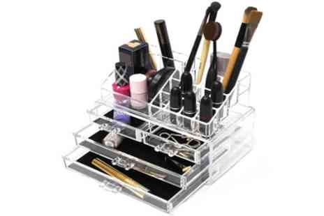 Groupon Goods Global GmbH - Clear Four Drawer Acrylic Makeup Display Case - Save 70%
