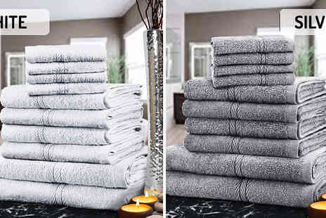 Fusion - 10 or 20 Piece Egyptian Cotton Towel Set Available in 11 Colours - Save 83%
