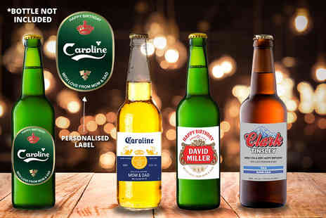 Personalised Gifts Market - Pack of four personalised beer and cider labels - Save 95%