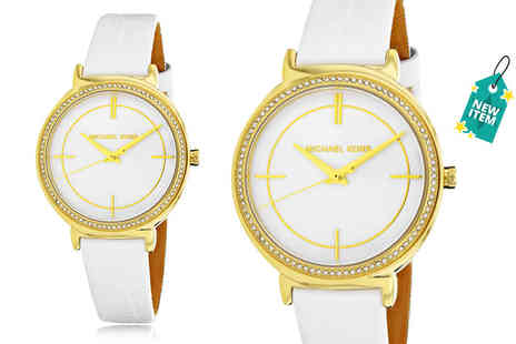 Wristy Business - Michael Kors MK2662 white leather strap stainless steel ladies watch - Save 49%