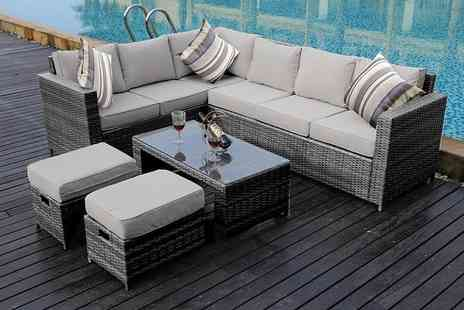 Dreams Living - Eight seater L shaped rattan dining set or set with rain cover choose from three colours - Save 51%