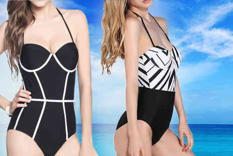 Bluebell Retail - Black & white bandeau swimsuit - Save 0%