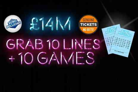 Hatchster - 10 syndicated EuroMillions Lottery lines plus ten instant win games with chances for an up to £7k win - Save 50%