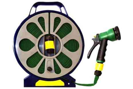 Groupon Goods Global GmbH - 50ft Garden Flat Hose Pipe and Reel with Spray Gun - Save 60%