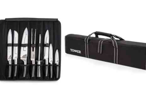 Groupon Goods Global GmbH - Tower Eight Piece Stainless Steel Knife Set with Roll-up Bag - Save 74%