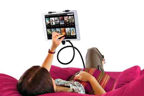Groupon Goods Global GmbH - 360 Degree Lazy S Bend Tablet Holder in Choice of Colour with optional Lightning Charge Cable - Save 0%