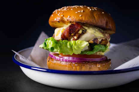 The Bagel Shop - Burger with a glass of beer or wine for one or two - Save 38%