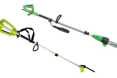 Groupon Goods Global GmbH - 710W Pole Pruner or Telescopic 800W Hedge Trimmer with Optional Chainsaw Head and Spare Chain With Free Delivery - Save 0%