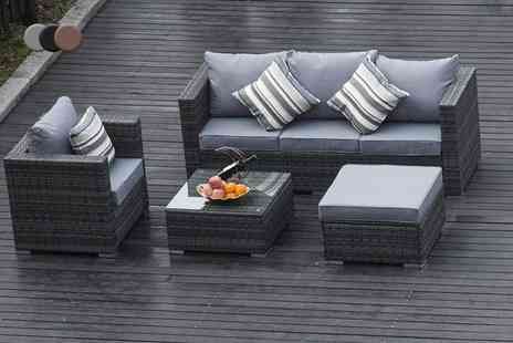 Dreams Living - Monaco five seater rattan sofa set or include an optional rain cover choose from three colours - Save 68%