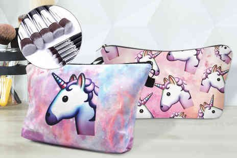 My Blu Fish - Unicorn cosmetics bag and make up brush set choose from two bag designs, six brush combinations - Save 68%