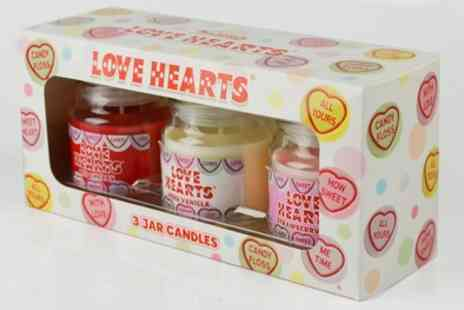 Groupon Goods Global GmbH - Swizzels Love Hearts Three Candle Gift Set - Save 38%