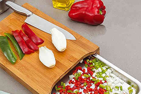 Zoozio - Bamboo chopping board with stainless steel tray - Save 68%