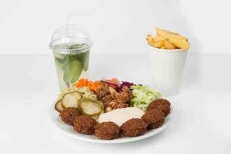 Maoz Falafel & Schnitzel - Falafel or Chicken Schnitzel Meal with Chips and Soft Drink - Save 33%