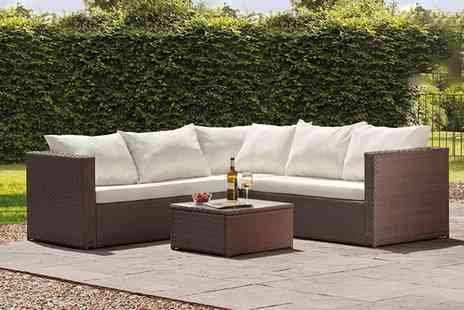 Groupon Goods Global GmbH - Miami Rattan Effect Corner Sofa Set in Choice of Colour With Free Delivery - Save 0%