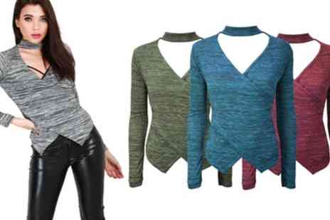 Groupon Goods Global GmbH - Be Jealous Choker Neck Marl Knitted Top - Save 64%