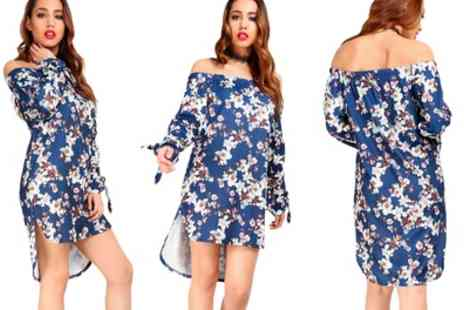 Groupon Goods Global GmbH - Be Jealous Floral Tie Knot Sleeve Dress - Save 70%